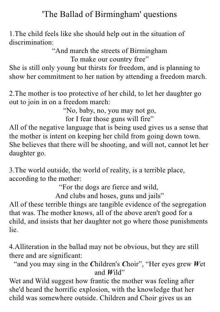 'The Ballad of Birmingham' questions  1.The child feels like she should help out in the situation of discrimination:      ...