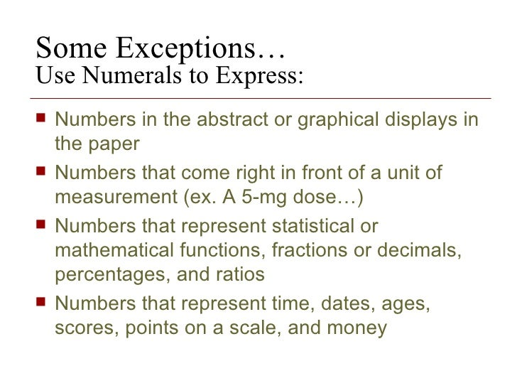 rules for writing numbers in apa