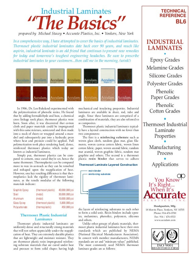"""Industrial Laminates  """"The Basics""""  prepared by Michael Stacey • Accurate Plastics, Inc. • Yonkers, New York In a comprehe..."""