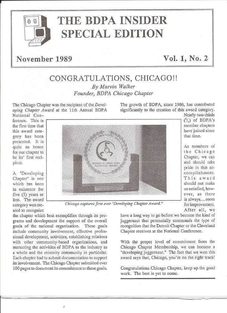 THE BDPA INSIDER                           SPECIAL EDITION    November 1989                                               ...