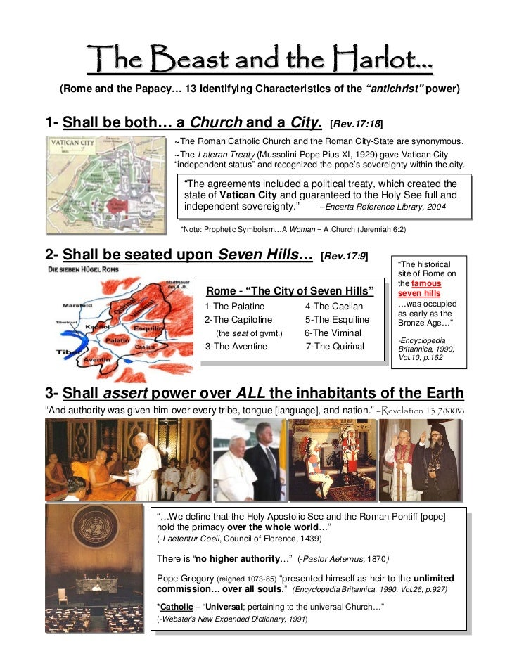"The Beast and the Harlot…   (Rome and the Papacy… 13 Identifying Characteristics of the ""antichrist"" power)1- Shall be bot..."