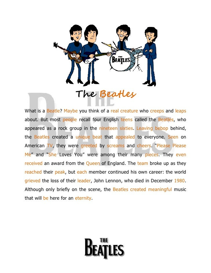 The BeatlesWhat is a Beatle? Maybe you think of a real creature who creeps and leapsabout. But most people recall four Eng...