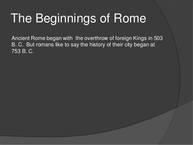 The beginnings of rome