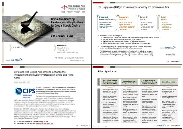 The Beijing Axis on China Sourcing for CHaINA '14 Live - June 2014