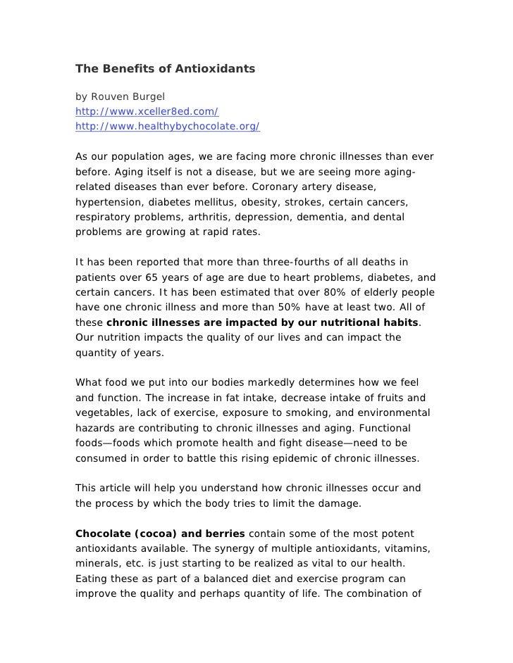 The Benefits Of Antioxidants