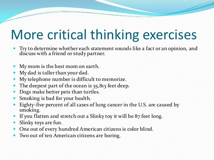 critical thinking exercises adults Encourage kids to think out of the box and sharpen their logical reasoning and problem-solving skills with our fun critical thinking activities for kids.