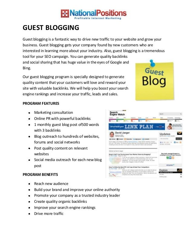 GUEST BLOGGINGGuest blogging is a fantastic way to drive new traffic to your website and grow yourbusiness. Guest blogging...
