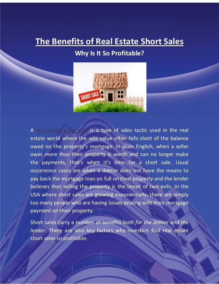 The benefits of real estate short sales