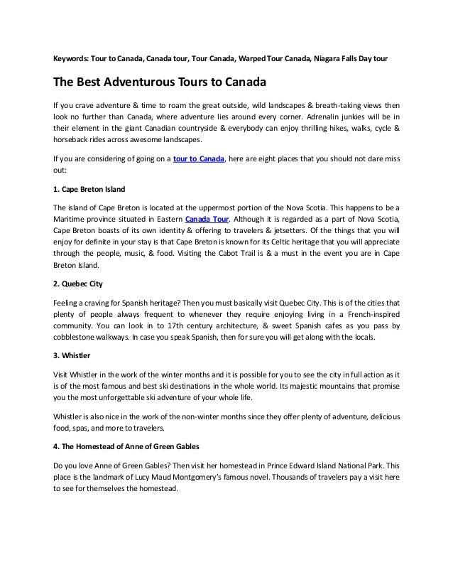 Keywords: Tour to Canada, Canada tour, Tour Canada, Warped Tour Canada, Niagara Falls Day tour The Best Adventurous Tours ...