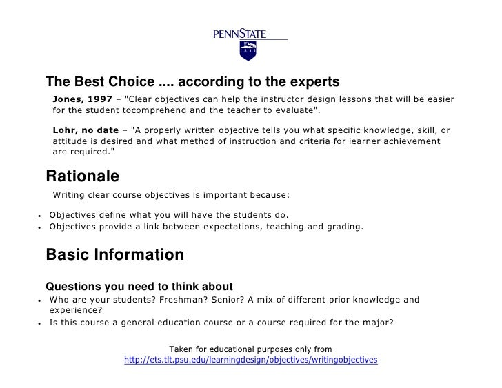 """The Best Choice .... according to the experts     Jones, 1997 – """"Clear objectives can help the instructor design lessons t..."""