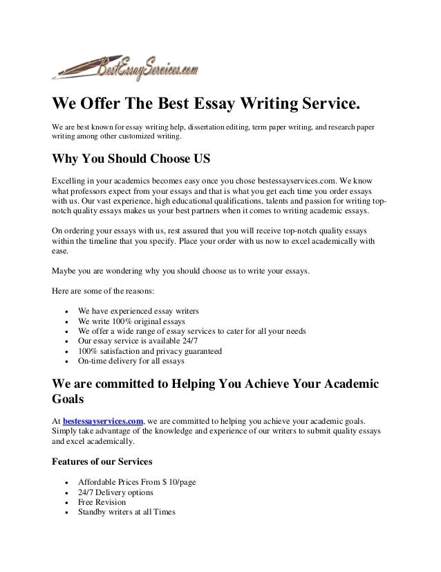 the best essay writing service Many students look for the ways how to get the best college essay, and our team can help them with such a complicated task we work hard and find solutions to any issue.