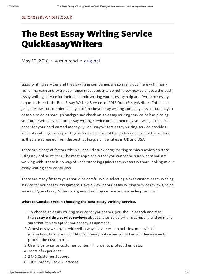 Essay writers writing service