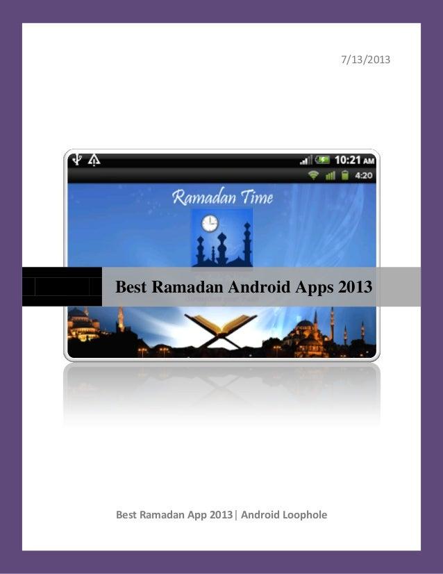 7/13/2013 Best Ramadan App 2013| Android Loophole Best Ramadan Android Apps 2013