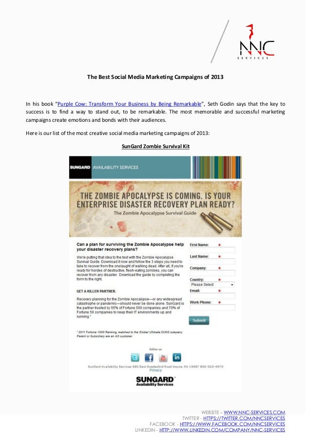 """The Best Social Media Marketing Campaigns of 2013  In his book """"Purple Cow: Transform Your Business by Being Remarkable"""", ..."""