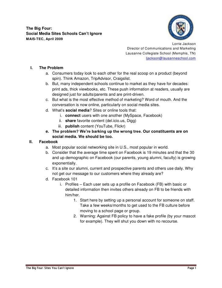 The Big Four: Social Media Sites Schools Can't Ignore MAIS-TEC, April 2009                                                ...