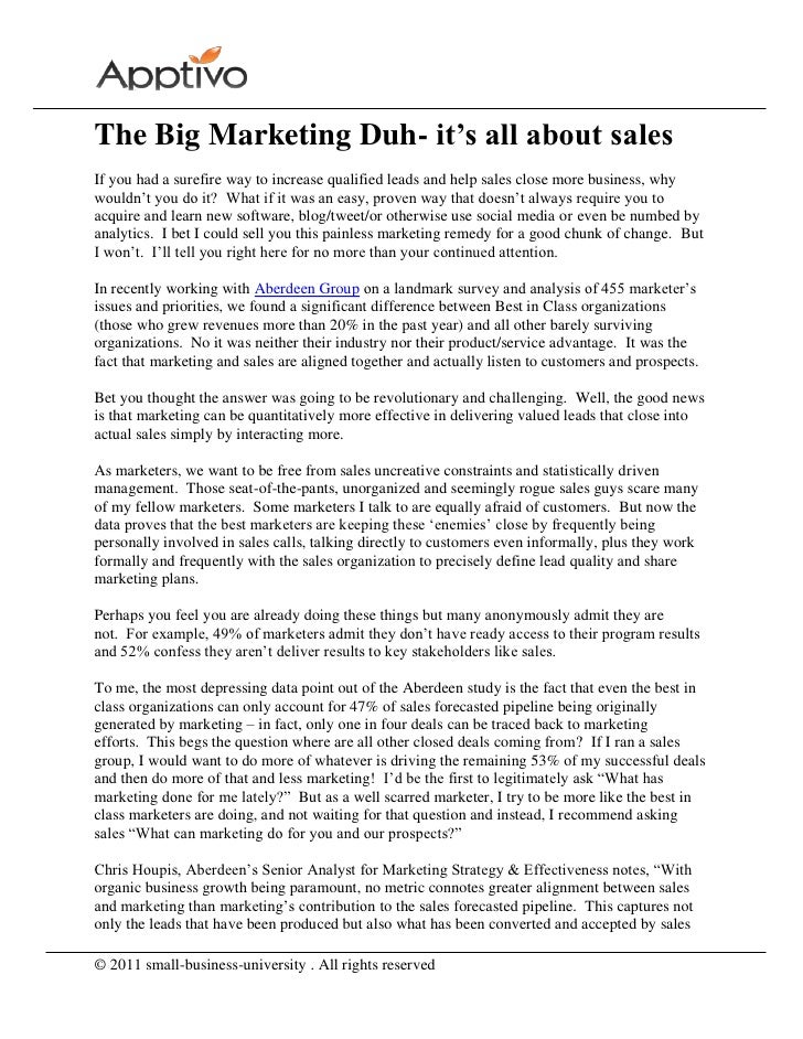 The Big Marketing Duh- it's all about salesIf you had a surefire way to increase qualified leads and help sales close more...