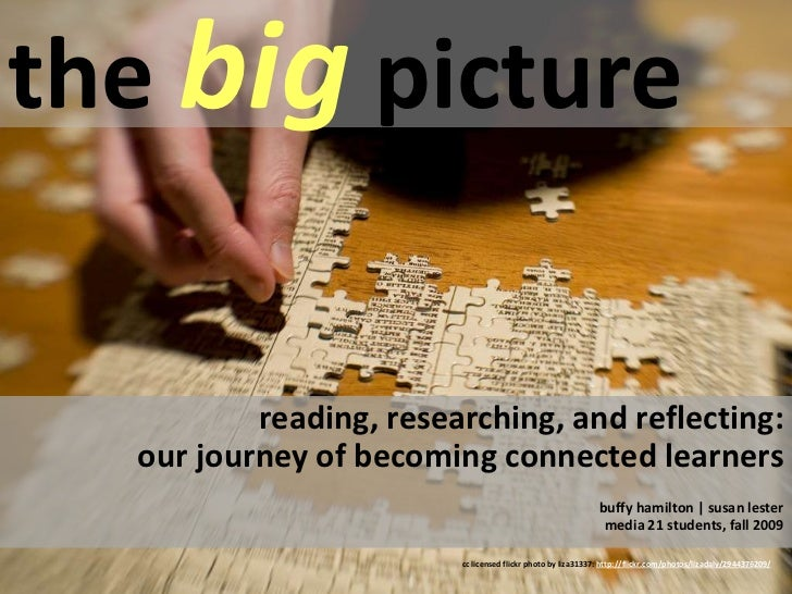 the big picture<br />reading, researching, and reflecting:  our journey of becoming connected learners<br />buffy hamilton...