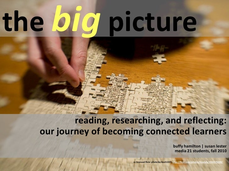 the big picture             reading, researching, and reflecting:   our journey of becoming connected learners            ...