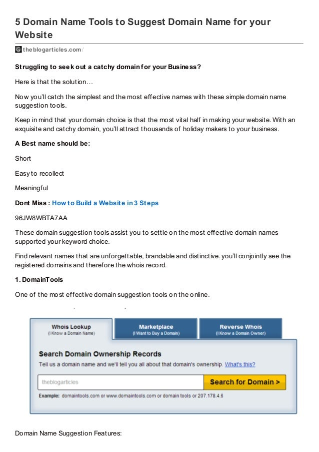 5 Domain Name Tools to Suggest Domain Name for your Website