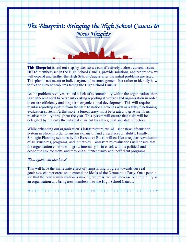 The Blueprint: Bringing the High School Caucus to                  New HeightsThis Blueprint is laid out step-by-step so w...