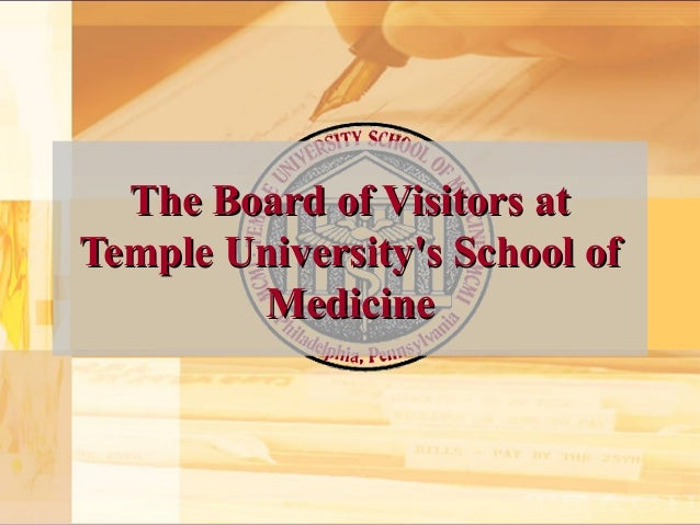 The board of visitors at temple university's school of medicine