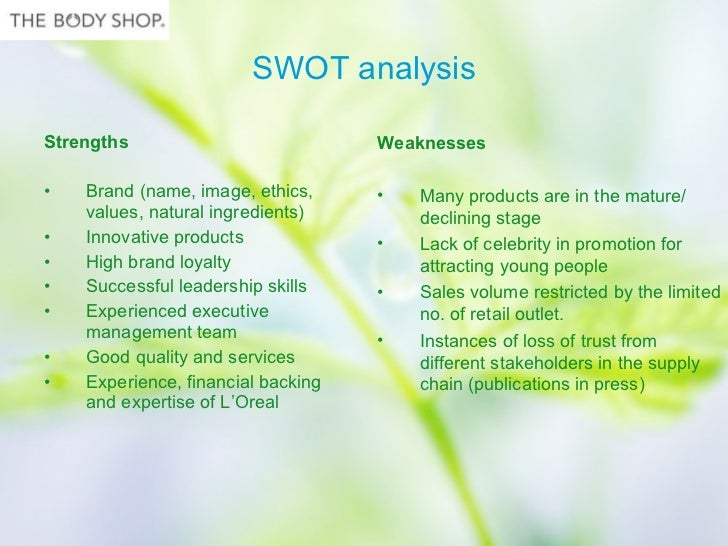 body shop essay Swot analysis of body shop essays: over 180,000 swot analysis of body shop essays, swot analysis of body shop term papers, swot analysis of body shop research paper, book reports 184 990.