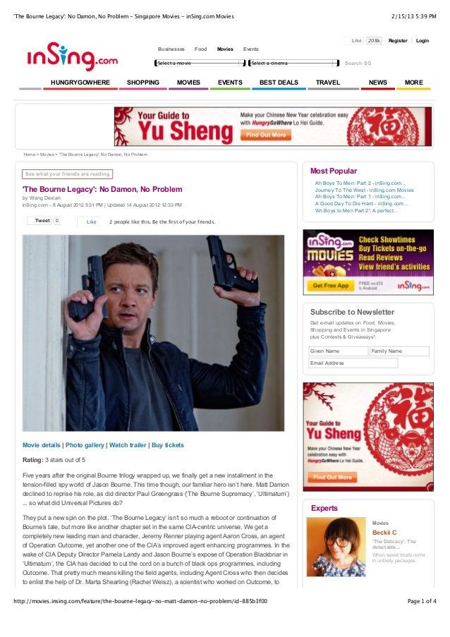 The Bourne Legacy: No Damon, No Problem - Singapore Movies - inSing.com Movies                                            ...