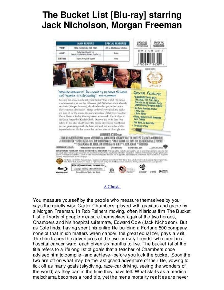 The Bucket List [Blu-ray] starring    Jack Nicholson, Morgan Freeman                                  A ClassicYou measure...