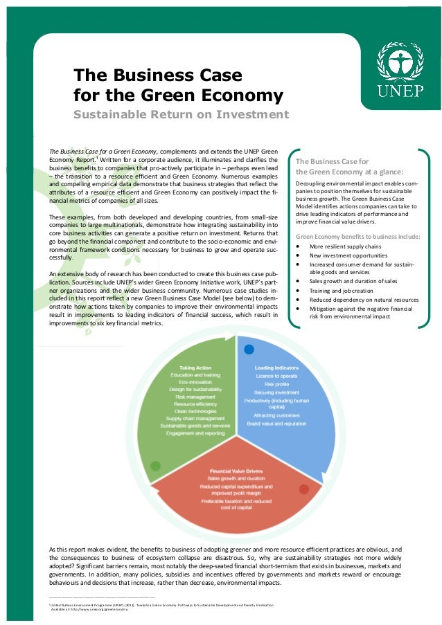 The business case for the green economy