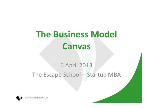 The Business Model                 Canvas                 6 April 2013       The Escape School – Startup MBAwww.rapidinnov...