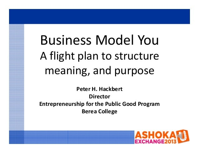 Business Model YouA flight plan to structure meaning, and purpose             Peter H. Hackbert                  DirectorE...