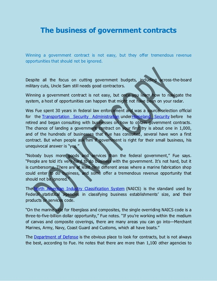 The business of government contracts