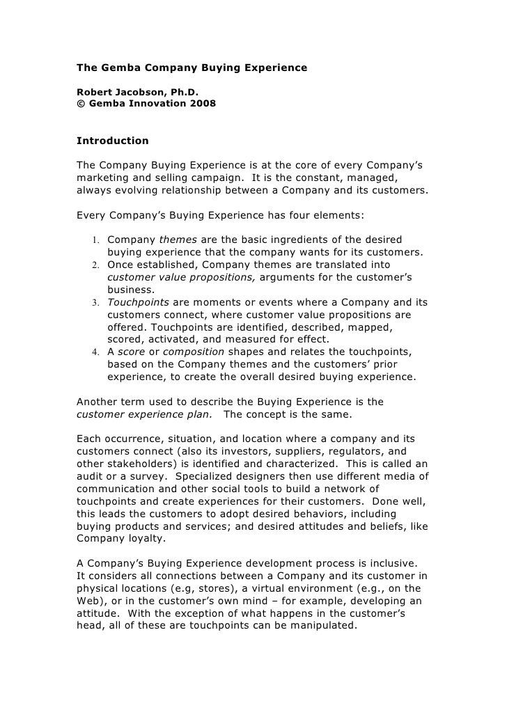 The Gemba Company Buying Experience  Robert Jacobson, Ph.D. © Gemba Innovation 2008   Introduction  The Company Buying Exp...
