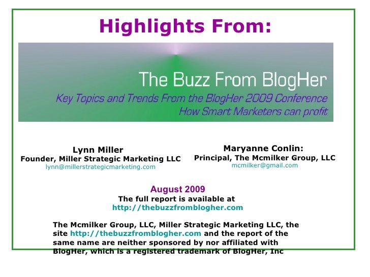 The Buzz From Blogher Highlights Report