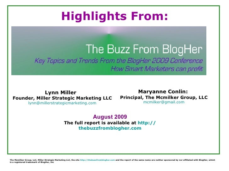 Highlights From The Buzz From Blogher Report