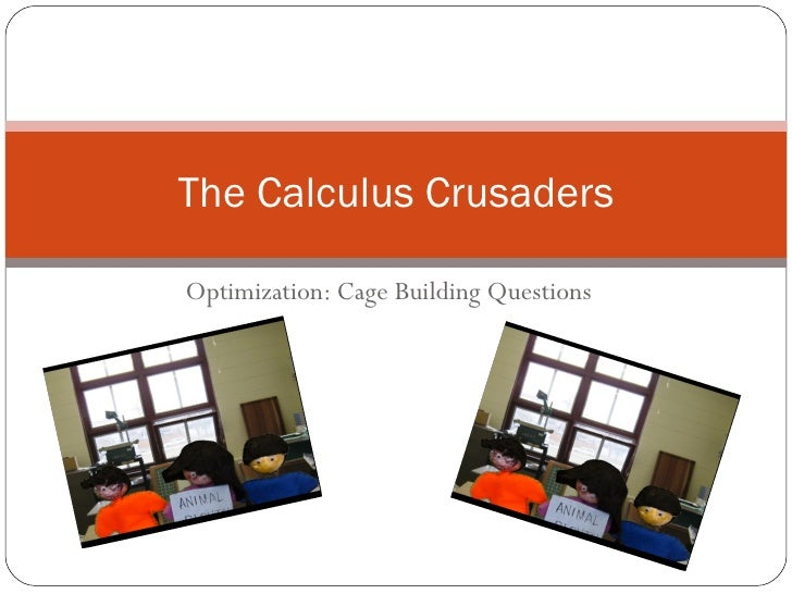 Optimization: Cage Building Questions The Calculus Crusaders