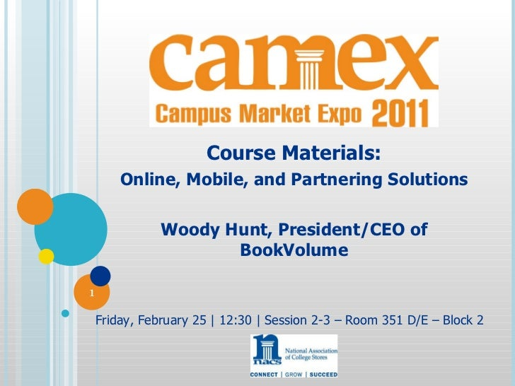 Course Materials: Online, Mobile, and Partnering Solutions Woody Hunt, President/CEO of BookVolume Friday, February 25 | 1...