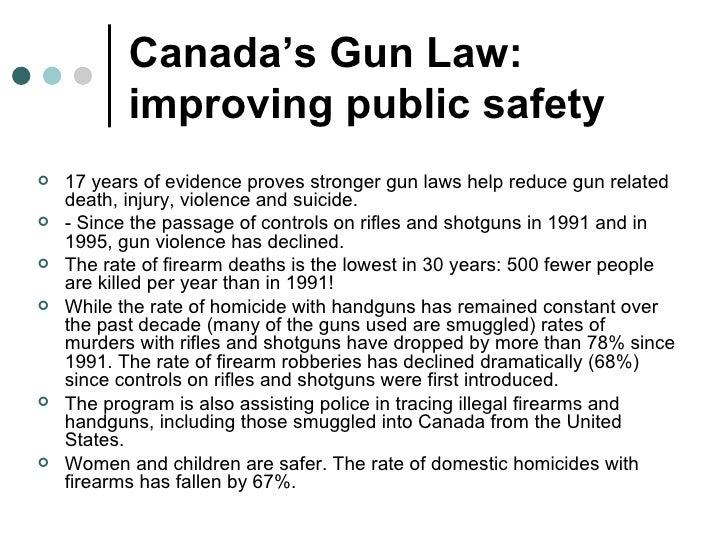 an analysis of the gun control policy in the canadian society This report is the first comprehensive state-by-state look at the gun laws in the united states it concentrates on the states, because, even though federal legislation plays an important role, most gun laws are enacted at the state level.