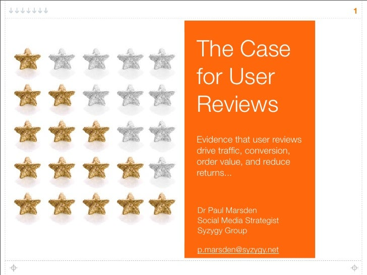 Social Commerce: The Case for User Reviews