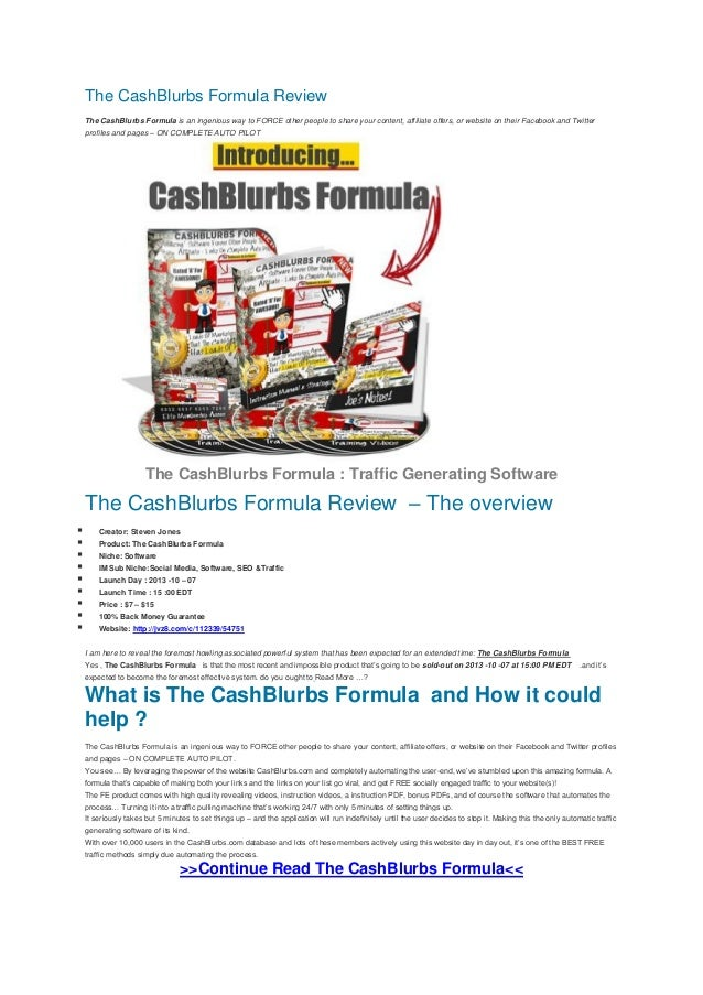 The cash blurbs formula review