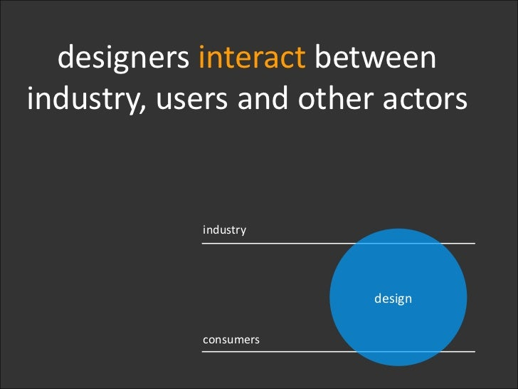 industry<br />design<br />consumers<br />designers interact between industry, users and other actors<br />