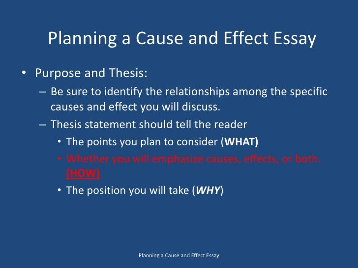 cause and effect essay thesis generator