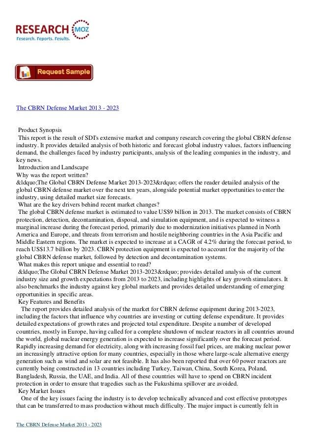 The CBRN Defense Market Size 2013 - 2023   Researchmoz.us