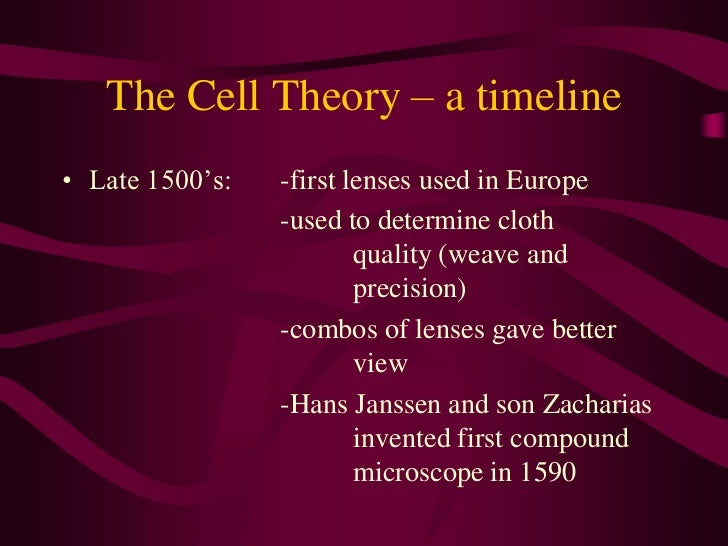 The Cell Theory – a timeline<br />Late 1500's:  -first lenses used in Europe<br />-used to determine cloth qual...