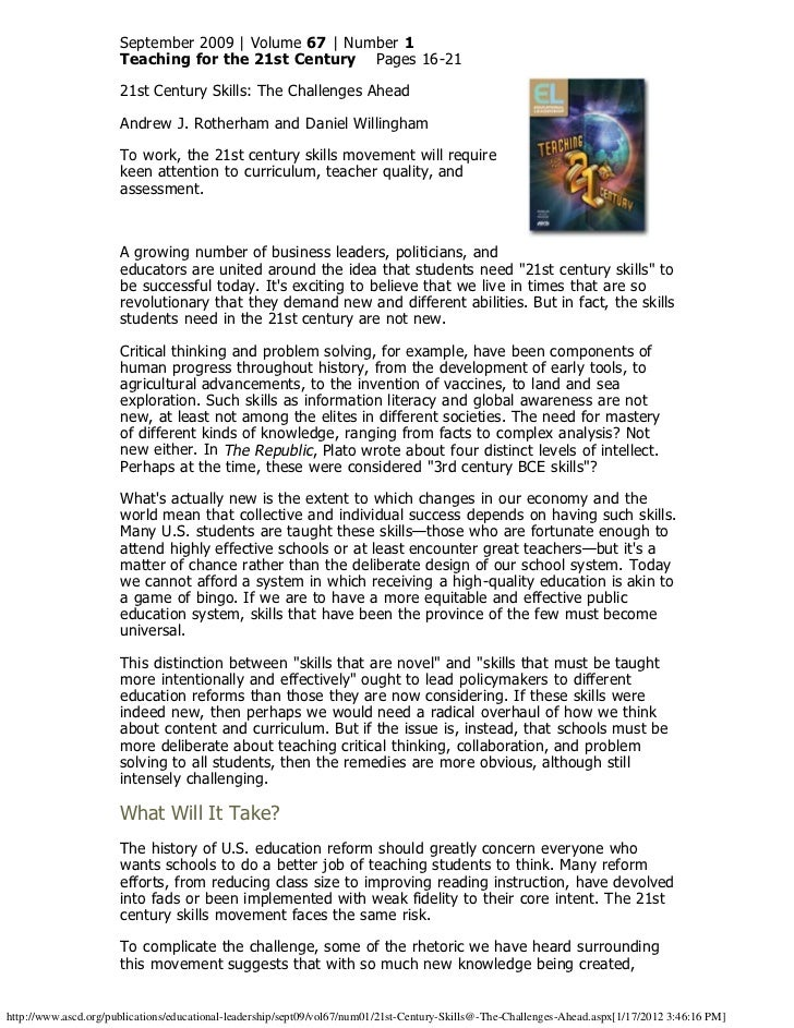 September 2009 | Volume 67 | Number 1                      Teaching for the 21st Century Pages 16-21                   ...