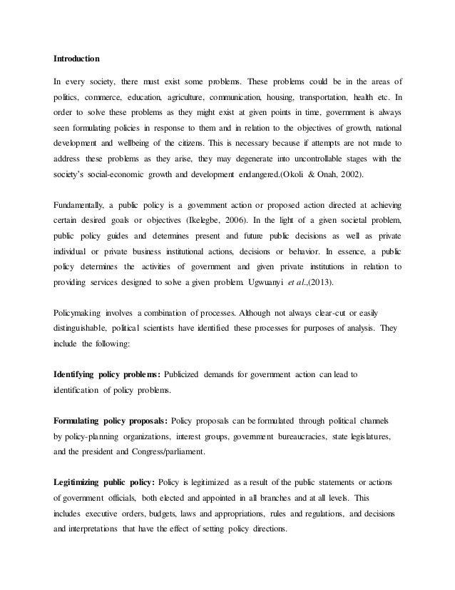 Example public policy essay