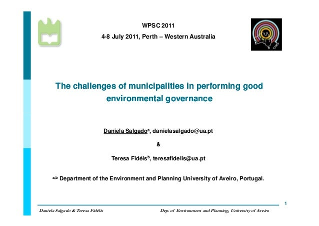The challenges of municipalities in performing goodThe challenges of municipalities in performing good environmental gover...