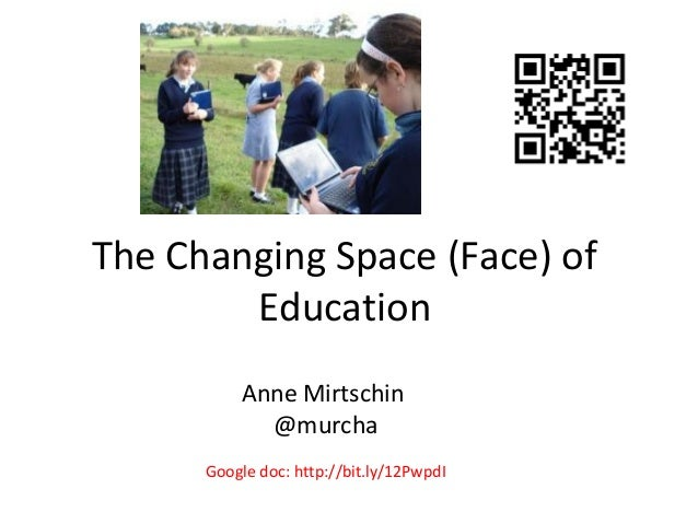 The Changing Space (Face) of Education Anne Mirtschin @murcha Google doc: http://bit.ly/12PwpdI