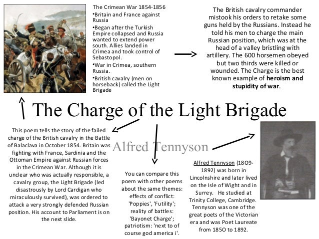 essay on charge of the light brigade An introduction to one of tennyson's most popular poems 'the charge of the light brigade' is one of alfred, lord tennyson's most famous poems here is the poem, followed by a few words by way of textual analysis its meaning is relatively straightforward, but some of its linguistic effects are worth.