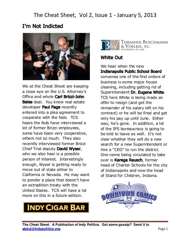 The Cheat Sheet, Vol 2, Issue 1 - January 5, 2013I'm Not Indicted                                              White Out  ...